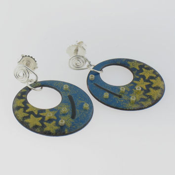 Hanging Handmade Enamel Earrings of a Starry Night