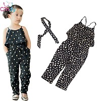 Girls Rompers clothes kids Girls harness heart-shaped piece clothing set kids Jumpsuit clothes