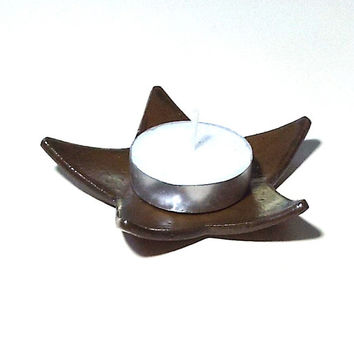 Ceramic Pottery Star Ring Dish Brown Candle Holder Earring Keeper Ring Catcher Small Spoon Rest Gift for Man Woman Star Rustic Home Decor