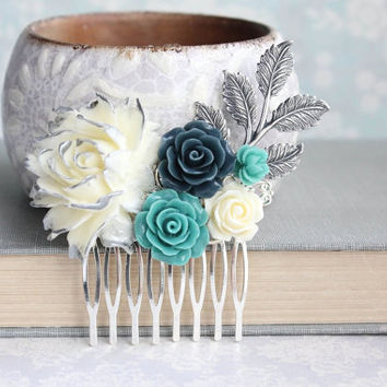 Teal Rose Comb Navy Bridal Hair Comb Silver and Ivory Flower Hair Piece Bridesmaid Gift Romantic Silver Branch Floral Collage Comb