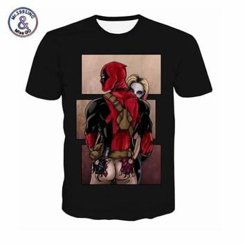 American Comic Marvel T Shirt Men Women Deadpool Suicide Squad T-Shirt Characters 3D Funny Harley Quinn Tee shirts Summer