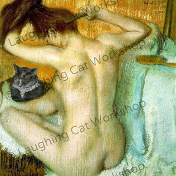 Printable Art Instant Download, Gray cat art print, Degas Nude Woman Comb Brush Hair Bath bathroom wall art bedroom dressing room wall decor