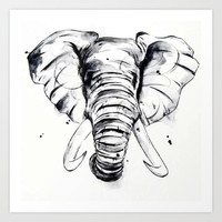 Elephant Art Print by Luis Patino