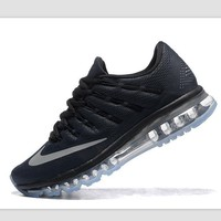 NIKE Trending Fashion Casual Sports Shoes AirMax Toe Cap hook section knited Black Silver hook