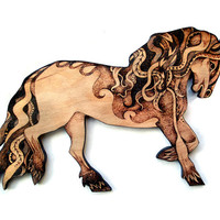 Horse Wall Hanging, wood with Pyrography (Wood burning), wood wallhanging, Horse art, Horse decor, equine art, horse lover gift, andalusian