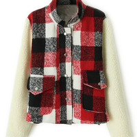 ROMWE | ROMWE Panel Plaid Color Block Red Coat, The Latest Street Fashion