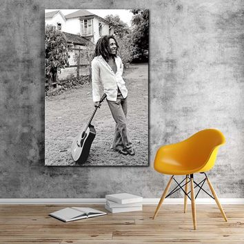 Modern painting bob marley black and white pictures canvas art print stretched frame Artwork living room large wall art decor