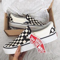 shosouvenir  Vans Slip-On Old Skool Fashion Checkerboard Canvas Sneakers Sport Shoes