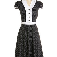 ModCloth Long Cap Sleeves A-line About the Artist Dress in Black and White