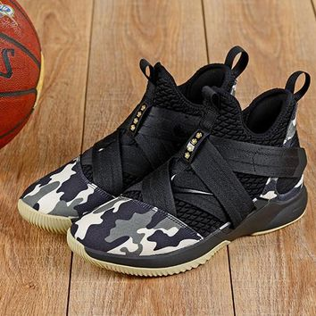 Nike LeBron Soldier 12 Black Camo Sneakers - Best Deal Online