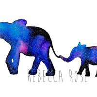 Watercolor Elephant Print, Fine Art Print, Universe Wall Art, Giclee Print, Bohemian Decor, Cosmic Print, Children's Bedroom, Spirit Animal