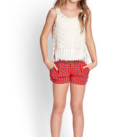 FOREVER 21 GIRLS Southwestern Print Shorts (Kids) Red/Teal