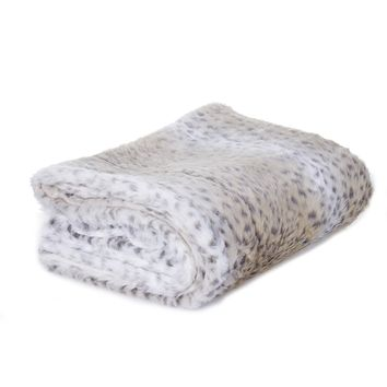 White Faux Fur Snow Leopard Throw | Overstock.com Shopping - The Best Deals on Throws