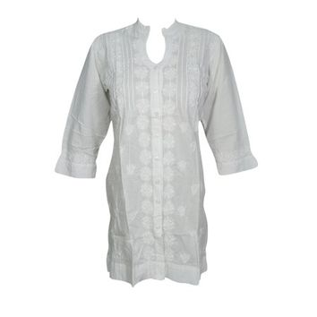Mogul Womens FLORAL White Tunic Long Sleeves Button Front Ethnic Cotton Blouse Kurti S - Walmart.com