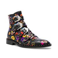 Givenchy Night Pansies Elegant Studded Leather Ankle Boots in Multi | FWRD