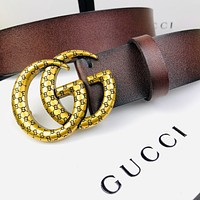 Free shipping: GUCCI simple embossed letter double G buckle belt
