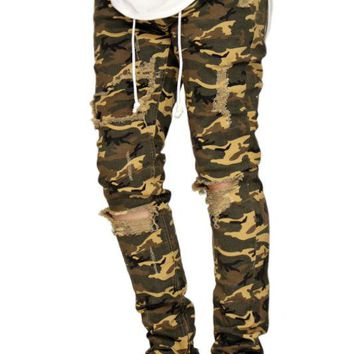 MEN'S CAMO TAPERED ANKLE ZIPPER BIKER SKINNY PANTS KAYDEN K KDNK