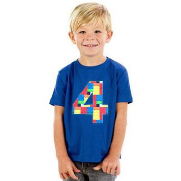 4 Building brick shirt, four construction blocks birthday outfit, 1 2 3 4 5 Birthday Shirt, 4th primary color blue red yellow plastic toys,