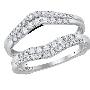 14kt White Gold Womens Round Diamond Ring Guard Wrap Enhancer Wedding Band 1/2 Cttw 116420