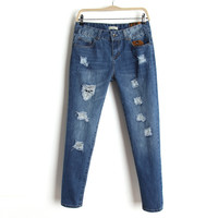 Summer Korean Rinsed Denim Ripped Holes Jeans Casual Pants Skinny Pants [8864413575]