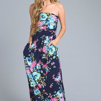 Thrive All Night Strapless Maxi Dress