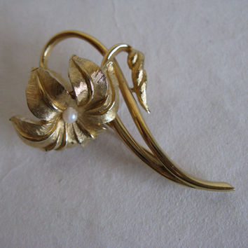Vintage 60s Floral Gold Tone Brooch Marcel Boucher 1960s Lilum with Pearl Floral Brooch