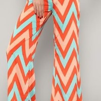 Womens Wide Leg Chevron Zig Zag  Palazzo  Pants ~ medium