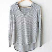 Striped Long Sleeve Hooded Top