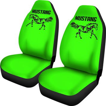 Mustang Horse Lime Green Seat Covers