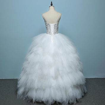 Wedding Dress Feather Princess Wedding Gown Lace Up Dress Ball Gown Tiered