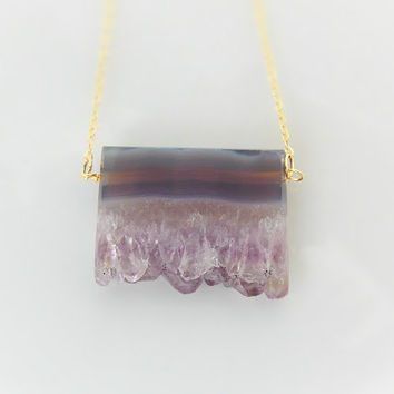 Amethyst Druze - Raw Amethyst Pendant - Amethyst Geode Necklace -  Raw Amethyst - Gold and Amethyst - February Gemstone - Raw Crystal