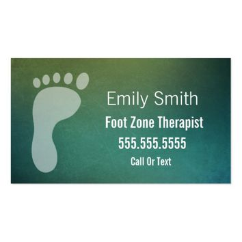 Foot Zone Therapist Textured Teal Business Card