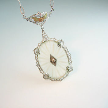 Art Deco Camphor Glass Necklace Rhodium Silver Filigree Lavalier Vintage 1920's Wedding Jewelry