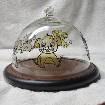 Recycled Mouse Dome Cheese Dish, Hand painted cheese dish, glass and wood cheese tray
