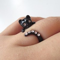 Black cat ring, cubic ring, kitty ring | simplecrystal - Jewelry on ArtFire