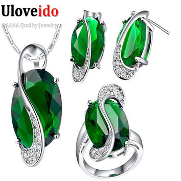 Jewelry Sets Bridal Wedding Necklace Earrings Olivine Peridot Ring Crystal Purple/Red/Blue/Multicolor Jewelry Set Gifts T155