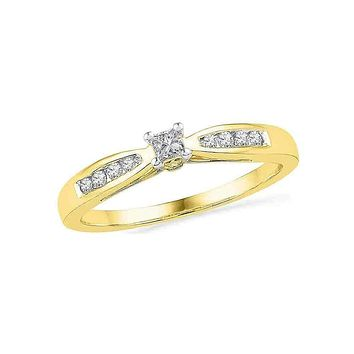 10kt Yellow Gold Women's Round Diamond Solitaire Promise Bridal Ring 1/5 Cttw - FREE Shipping (US/CAN)