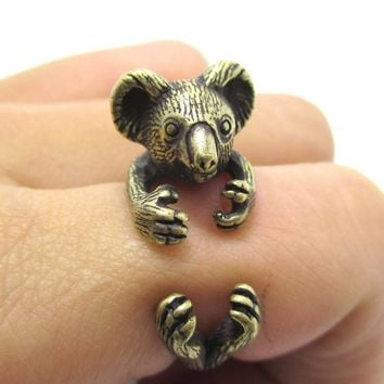 3D Koala Bear Wrapped Around Your Finger Shaped Animal Ring in Brass | US Size 4 to 8.5