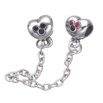 Cute Mickey Design European Crystal Safety Chain Beads For Pandora Charms Bracelets &