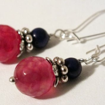 Sterling Silver Faceted Red Dragon Vein Agate & Howlite Lapis Earring Dangles