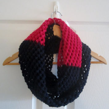 Lace Knit Scarf - Infinity Scarf - Acrylic Scarf - Color Block Scarf - Navy Blue Scarf - Fuschia Scarf - Hand Knit Scarf - Knitted Scarf