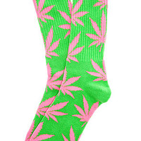 The Glow In The Dark Plantlife Crew Socks in Green & Pink