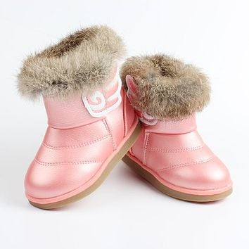 Baby Girls Shoes Thicken Soft Wings Kids Snow Boots Fur Rubber Soles Waterproof Boots
