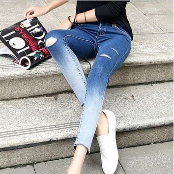 Size 26-32 Women Fashion Skinny Ankle-length Ripped Jeans Vintage Gradient Colored Trousers Elastic Slim Casual Pencil Pants