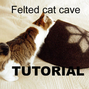 Felt cat cave tutorial - cat bed pattern - downloadable PDF