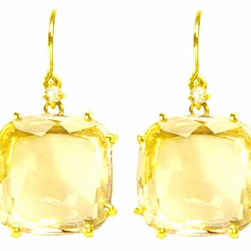 Suzanne Kalan The Classics 12mm Cushion Cut Lemon Quartz Drop Earrings