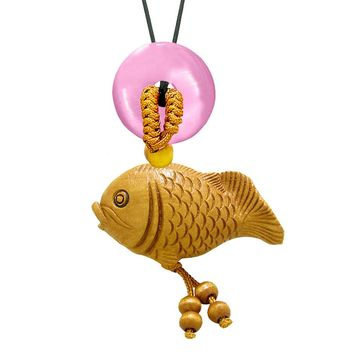 Fortune Cute Fish Car Charm or Home Decor Simulated Pink Cats Eye Lucky Coin Donut Protection Amulet