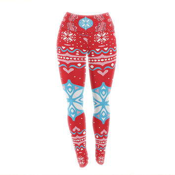"Miranda Mol ""Snow Joy Red"" Blue Yoga Leggings"