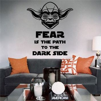 ik2279 Wall Decal Sticker Jedi master Yoda instruction fear dark side Star Wars hall bedroom