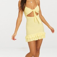 Lemon Tie Front Frill Hem Skater Dress